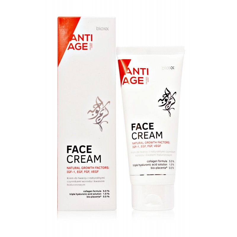 Face cream with Natural Growth Factors, hyaluronic acid and active collagen