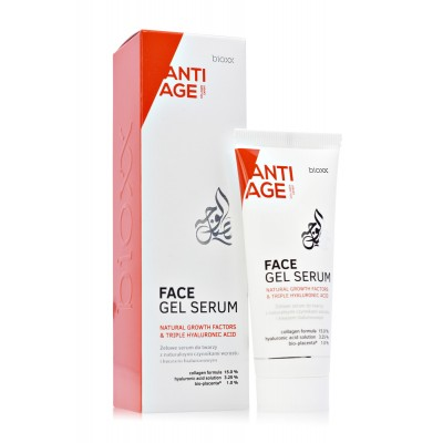 Face gel serum with Natural Growth Factors, hyaluronic acid and active collagen